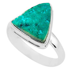 5.53cts solitaire natural dioptase 925 sterling silver ring jewelry size 9 t3303