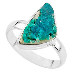 5.77cts solitaire natural dioptase 925 sterling silver ring size 10 t3263