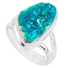 5.11cts solitaire natural dioptase 925 sterling silver ring size 5.5 t3275