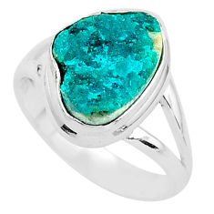 5.06cts solitaire natural dioptase 925 sterling silver ring size 6.5 t3281