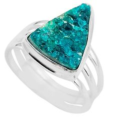 8.21cts solitaire natural dioptase 925 sterling silver ring size 8.5 t3304