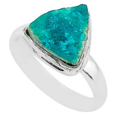 5.28cts solitaire natural dioptase 925 sterling silver ring size 8.5 t3314