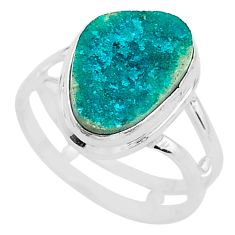 5.51cts solitaire natural dioptase 925 sterling silver ring size 7.5 t3319