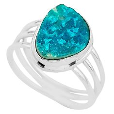 4.80cts solitaire natural dioptase 925 sterling silver ring size 6.5 t3320