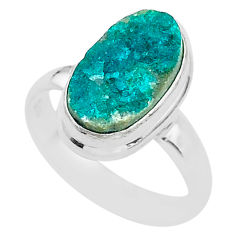4.64cts solitaire natural dioptase oval 925 sterling silver ring size 6.5 t3308