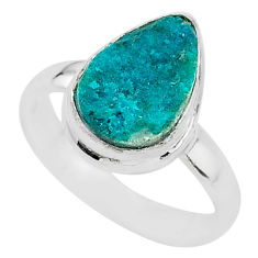 4.82cts solitaire natural dioptase pear 925 sterling silver ring size 8.5 t3287