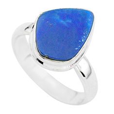 3.83cts solitaire natural doublet opal australian 925 silver ring size 6 t3416