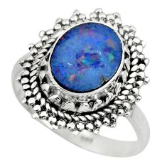 3.37cts solitaire natural doublet opal australian 925 silver ring size 7 r49550