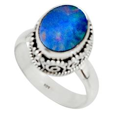 3.86cts solitaire natural doublet opal australian 925 silver ring size 7 r50828