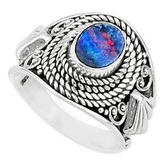 1.46cts solitaire natural doublet opal australian 925 silver ring size 7 t15431