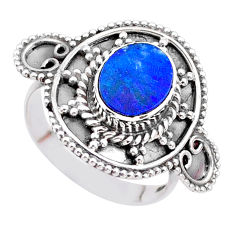 1.70cts solitaire natural doublet opal australian 925 silver ring size 7 t27303