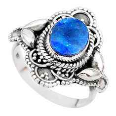 2.01cts solitaire natural doublet opal australian 925 silver ring size 7 t27456