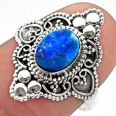 1.32cts solitaire natural doublet opal australian 925 silver ring size 7 t30677