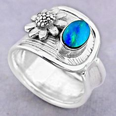0.94cts solitaire natural doublet opal australian 925 silver ring size 7 t32471