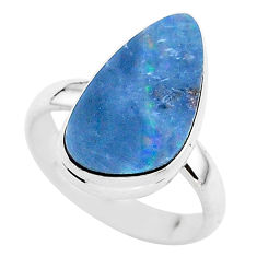 5.24cts solitaire natural doublet opal australian 925 silver ring size 7 t3418