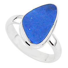 4.34cts solitaire natural doublet opal australian 925 silver ring size 7 t3422
