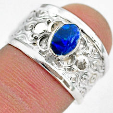 0.91cts solitaire natural doublet opal australian 925 silver ring size 7 t42281