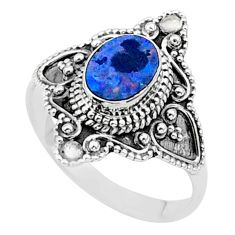 0.98cts solitaire natural doublet opal australian 925 silver ring size 8 t27155