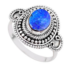 1.79cts solitaire natural doublet opal australian 925 silver ring size 8 t27309