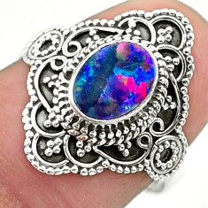 1.43cts solitaire natural doublet opal australian 925 silver ring size 8 t30663