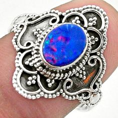 1.62cts solitaire natural doublet opal australian 925 silver ring size 8 t30667