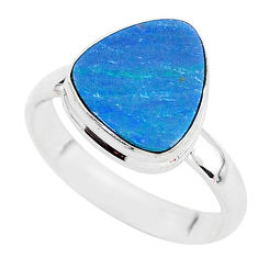 4.25cts solitaire natural doublet opal australian 925 silver ring size 8 t3437