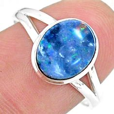 2.45cts solitaire natural doublet opal australian 925 silver ring size 8 t34631