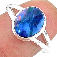 2.43cts solitaire natural doublet opal australian 925 silver ring size 8 t34639