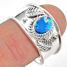 1.02cts solitaire natural doublet opal australian 925 silver ring size 8 t42282