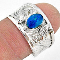 1.09cts solitaire natural doublet opal australian 925 silver ring size 8 t42285