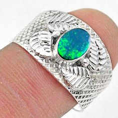 1.21cts solitaire natural doublet opal australian 925 silver ring size 8 t42290