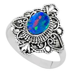 0.98cts solitaire natural doublet opal australian 925 silver ring size 9 t27156