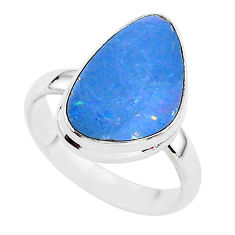 5.08cts solitaire natural doublet opal australian 925 silver ring size 7.5 t3431