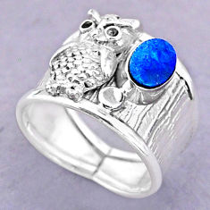1.16cts solitaire natural doublet opal australian silver owl ring size 7 t32486