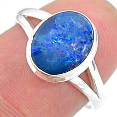 2.45cts solitaire natural doublet opal australian silver ring size 7 t34626