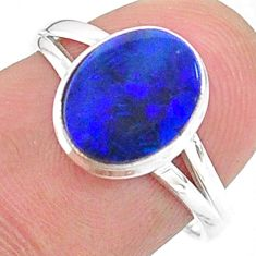 2.26cts solitaire natural doublet opal australian silver ring size 7 t34627