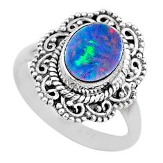 2.21cts solitaire natural doublet opal australian silver ring size 6.5 t10516