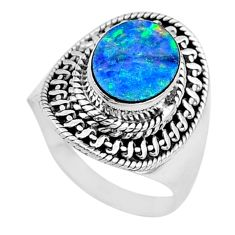 2.81cts solitaire natural doublet opal australian silver ring size 6.5 t10520