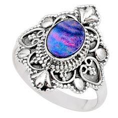 0.91cts solitaire natural doublet opal australian silver ring size 6.5 t27129