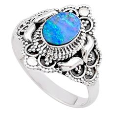 0.97cts solitaire natural doublet opal australian silver ring size 8.5 t27130