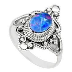 0.90cts solitaire natural doublet opal australian silver ring size 7.5 t27139