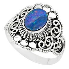 0.85cts solitaire natural doublet opal australian silver ring size 6.5 t27152