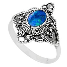 1.04cts solitaire natural doublet opal australian silver ring size 10.5 t27154