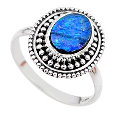 1.74cts solitaire natural doublet opal australian silver ring size 8.5 t27304