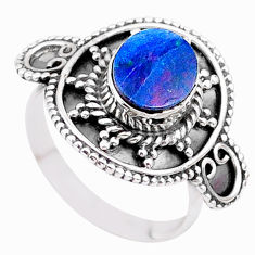 1.62cts solitaire natural doublet opal australian silver ring size 6.5 t27307