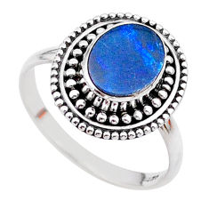 1.30cts solitaire natural doublet opal australian silver ring size 7.5 t27315