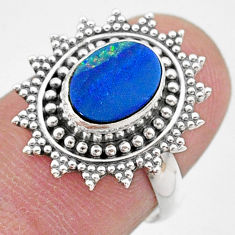 1.82cts solitaire natural doublet opal australian silver ring size 6.5 t27406