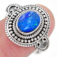 1.79cts solitaire natural doublet opal australian silver ring size 8.5 t27408