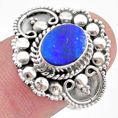 1.61cts solitaire natural doublet opal australian silver ring size 7.5 t27412