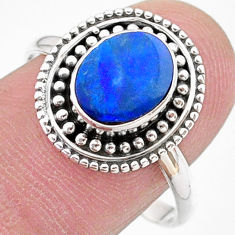 1.74cts solitaire natural doublet opal australian silver ring size 8.5 t27413